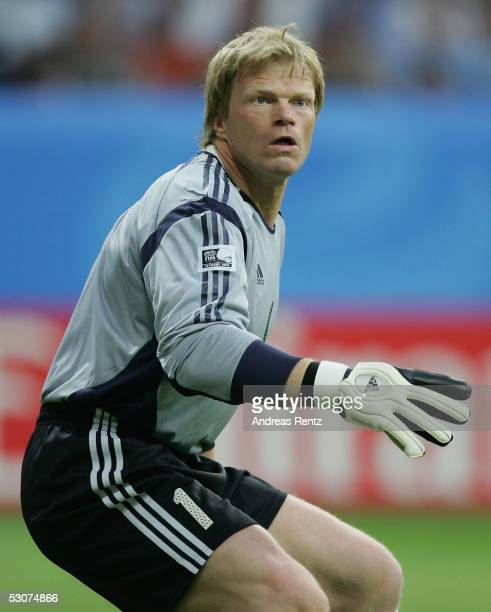 Goalkeeper Oliver Kahn of Germany in action during the FIFA Confederations Cup 2005 match between Germany and Australia at the Waldstadion Stadium on...