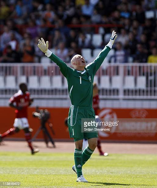 Goalkeeper Oliver Korch of Denmark celebrates during the UEFA U17 championship Group A match between Denmark and England on May 6 2011 in Novi Sad...