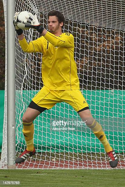 Goalkeeper Oliver Schnitzler of Germany saves a shot during the international friendly soccer match between U17 Germany and U17 Austria on April 14...
