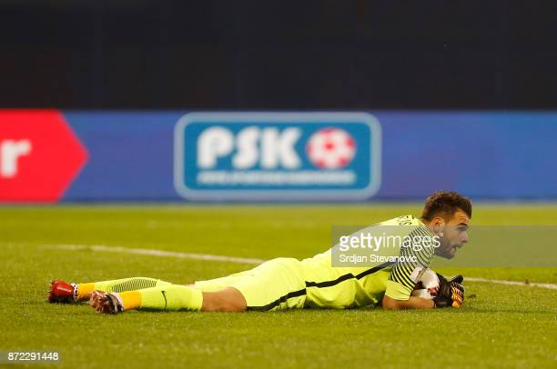 Goalkeeper Orestis Karnezis of Greece during the FIFA 2018 World Cup Qualifier PlayOff First Leg between Croatia and Greece at Stadion Maksimir on...