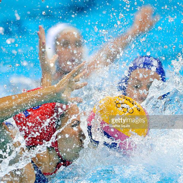 Goalkeeper Orsolya Kaso of Hungary in action against Australia during their Women's Water Polo quarterfinal match at the Rio 2016 Olympic Games on...
