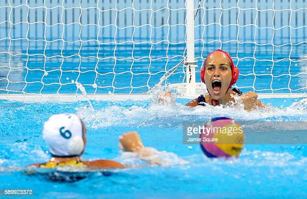 Goalkeeper Orsolya Kaso of Hungary reacts after a shot by Bronwen Knox of Australia hits the post during a shootout in their Women's Water Polo...
