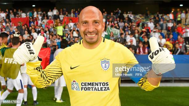 Goalkeeper Oscar Perez of CF Pachuca celebrates at the end of the FIFA Club World Cup UAE 2017 Second Round Match between CF Pachuca and Wydad...