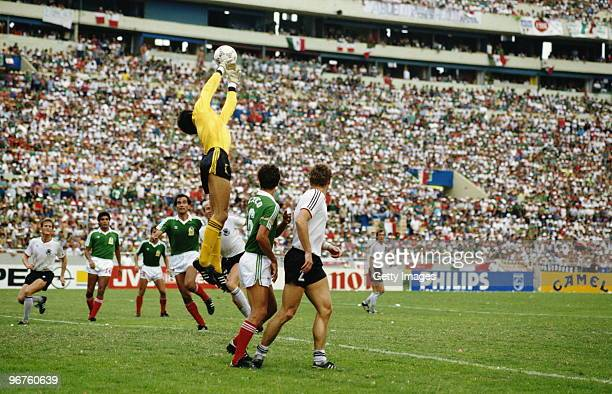 Goalkeeper Pablo Larios of Mexico catches the ball against West Germany during the 1986 FIFA World Cup Quarter Final on 21 June 1986 at the...