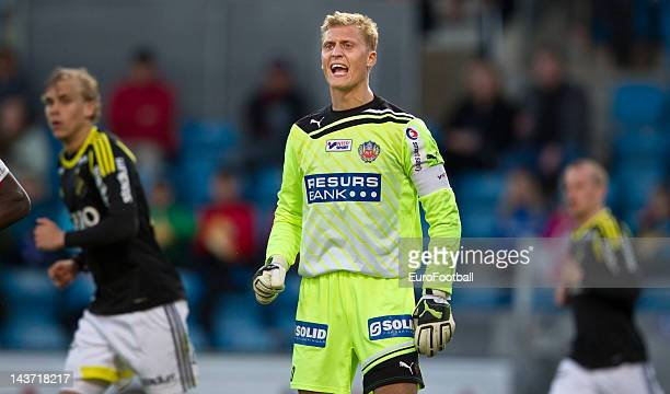 Goalkeeper Par Hansson of Helsingborgs IF shouts during the Allsvenskan League match between Helsingborgs IF and AIK Solna at the Olympia Stadium on...