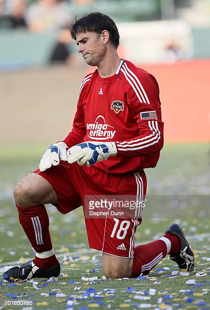 Goalkeeper Pat Onstad of the Houston Dynamo reaacts after giving up the fourth goal of the game against the Los Angeles Galaxy on June 5 2010 at the...