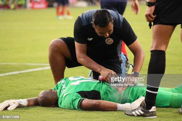 Goalkeeper Patrick Pemberton of Costa Rica lies injured and receives treatment during the 2017 CONCACAF Gold Cup Quarter Final match between Costa...