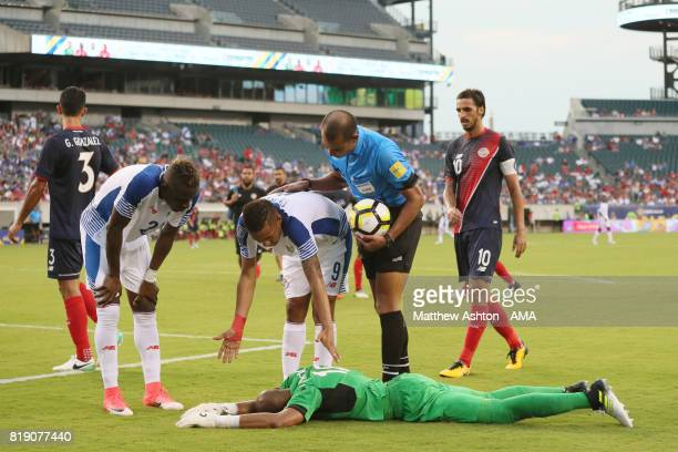 Goalkeeper Patrick Pemberton of Costa Rica lies injured during the 2017 CONCACAF Gold Cup Quarter Final match between Costa Rica and Panama at...