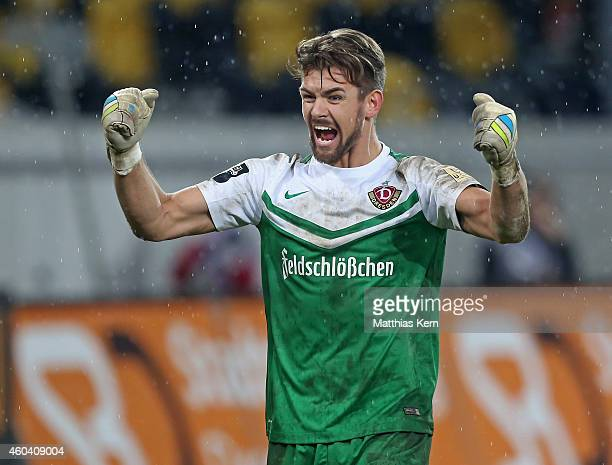 Goalkeeper Patrick Wiegers of Dresden shows his delight after winning the third league match between SG Dynamo Dresden and FC Energie Cottbus at...