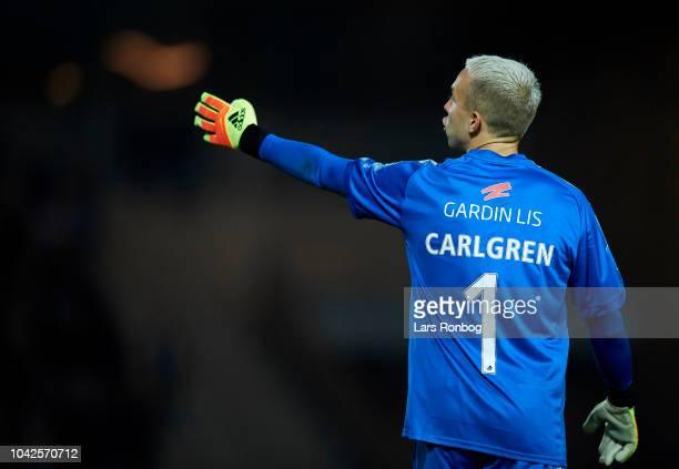 Goalkeeper Patrik Carlgren of Randers FC gestures during the Danish Superliga match between Vejle Boldklub and Randers FC at Vejle Stadion on...