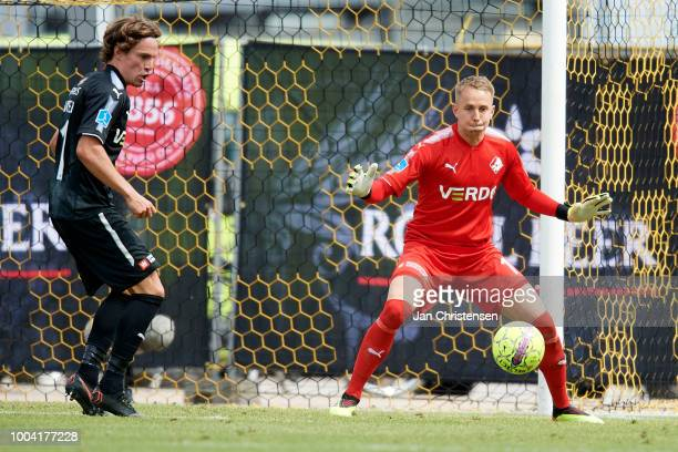 Goalkeeper Patrik Carlgren of Randers FC in action during the Danish Superliga match between AC Horsens and Randers FC at Casa Arena Horsens on July...