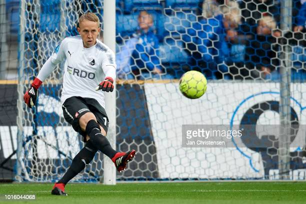 Goalkeeper Patrik Carlgren of Randers FC in action during the Danish Superliga match between Randers FC and AGF Arhus at BioNutria Park Randers on...