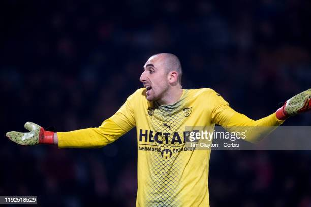 December 6: Goalkeeper Paul Bernardoni of Nimes reacts after conceding his fourth goal of the match during the Nimes V Lyon, French Ligue 1, regular...