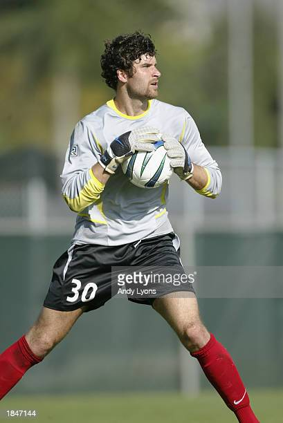 Goalkeeper Paul Grafer of the New York/New Jersey MetroStars stops a shot against the Kansas City Wizards during the MLS game on March 7 2003 at the...