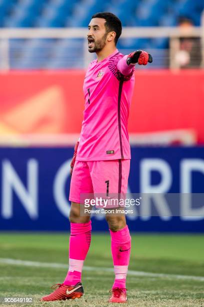 Goalkeeper Paul Izzo of Australia gestures during the AFC U23 Championship China 2018 Group D match between Vietnam and Australia at Kunshan Sports...