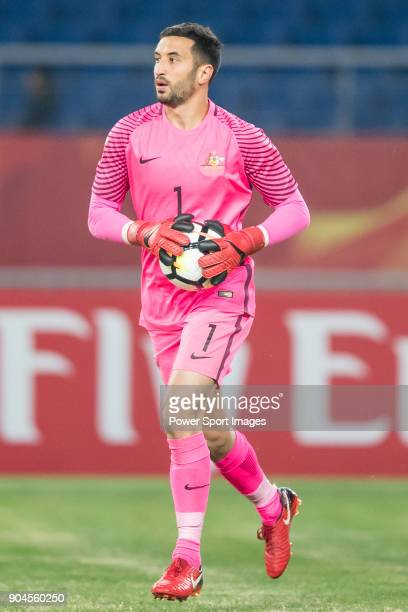 Goalkeeper Paul Izzo of Australia in action during the AFC U23 Championship China 2018 Group D match between Australia and Syria at Kunshan Sports...