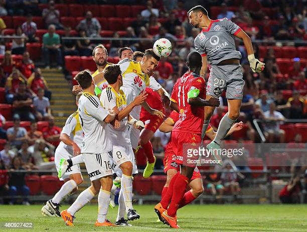 Goalkeeper Paul Izzo of United attempts to score a goal with a header in the final minutes during the round 14 ALeague match between Adelaide United...