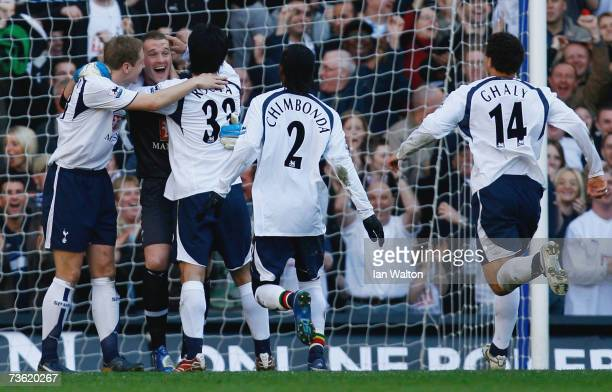 Goalkeeper Paul Robinson of Tottenham Hotspur celebrates scoring a goal during the Barclays Premiership match between Tottenham Hotspur and Watford...