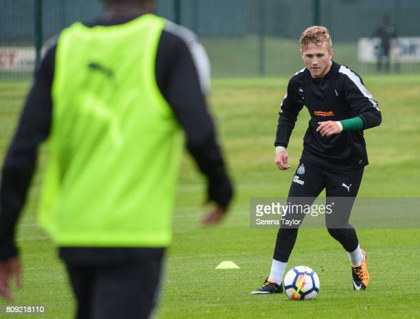 Goalkeeper Paul Woolston controls the ball during the Newcastle United Training session at the Newcastle United Training Centre on July 5 in...