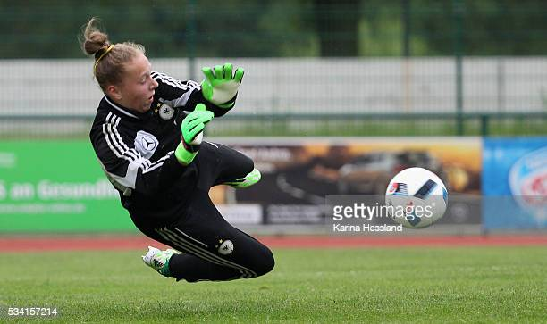 Goalkeeper Pauline Carlotta Nelles of Germany reacts during the International Friendly match between U15 Girls Germany and U15 Girls Czech Republic...