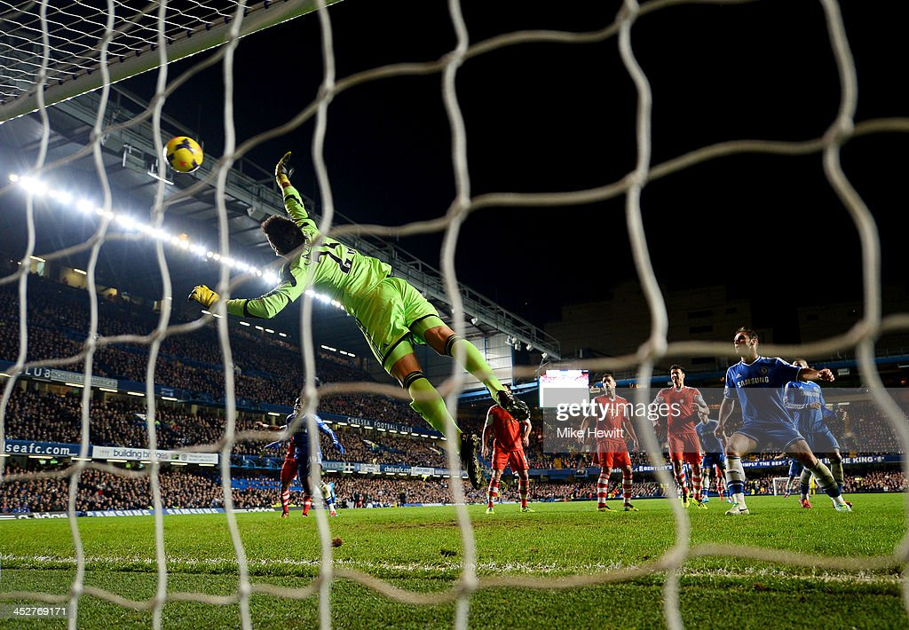 Goalkeeper Paulo Gazzaniga of Southampton fails to stop John Terry of Chelsea (not pictured) from scoring their second goal during the Barclays Premier League match between Chelsea and Southampton at Stamford Bridge on December 1, 2013 in London, England.