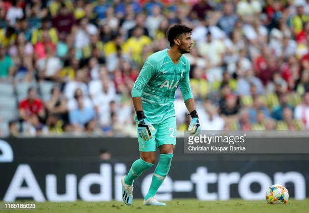 Goalkeeper Paulo Gazzaniga of Tottenham Hotspur controls the ball during the Audi cup 2019 semi final match between Real Madrid and Tottenham Hotspur...