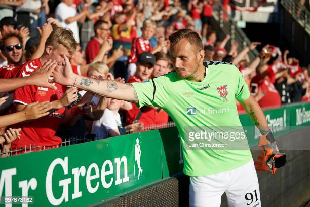 Goalkeeper Pavol Bajza of Vejle Boldklub celebrate with fans after the Danish Superliga match between Vejle Boldklub and Hobro IK at Vejle Stadion on...