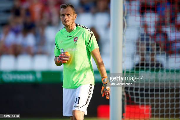 Goalkeeper Pavol Bajza of Vejle Boldklub looks on during the Danish Superliga match between Vejle Boldklub and Hobro IK at Vejle Stadion on July 13...