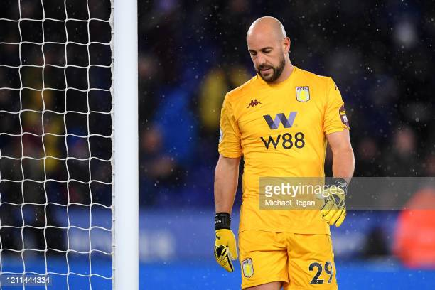 Goalkeeper Pepe Reina of Aston Villa looks dejected after defeat in the Premier League match between Leicester City and Aston Villa at The King Power...
