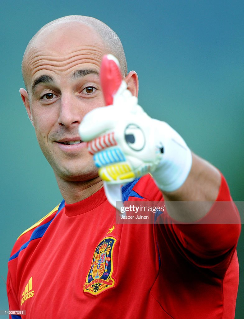 Goalkeeper Pepe Reina of Spain gestures during a training session on May 28, 2012 in Schruns, Austria.