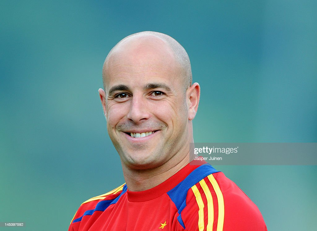 Goalkeeper Pepe Reina of Spain smiles during a training session on May 28, 2012 in Schruns, Austria.