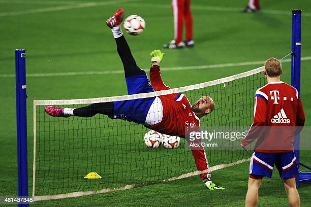 Goalkeeper Pepe Reina tries a bicycle kick during day 4 of the Bayern Muenchen training camp at ASPIRE Academy for Sports Excellence on January 12...