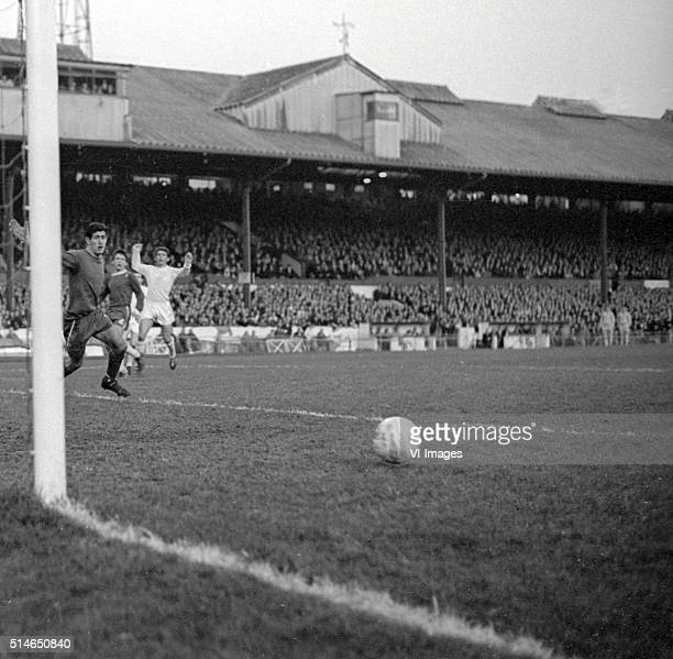 goalkeeper Peter Bonetti of Chelsea during the match between Chelsea and Leeds United on November 6 1965 at Stamford Bridge stadium at London England