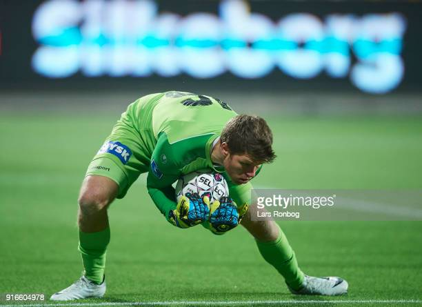 Goalkeeper Peter Friis Jensen of Silkeborg IF in action during the Danish Alka Superliga match between Silkeborg IF and AaB Aalborg at Jysk Park on...
