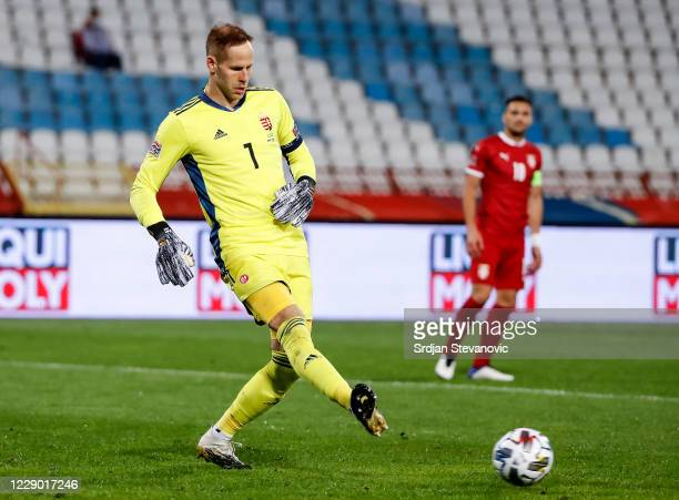 Goalkeeper Peter Gulacsi of Hungary in action during the UEFA Nations League group stage match between Serbia and Hungary at Rajko Mitic Stadium on...