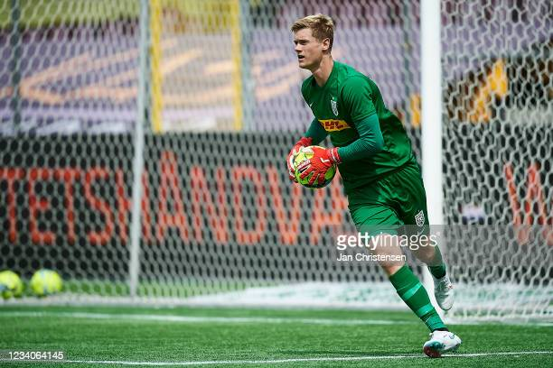 Goalkeeper Peter Vindahl Jensen of FC Nordsjalland in action during the Danish 3F Superliga match between FC Nordsjalland and Viborg FF at Right to...
