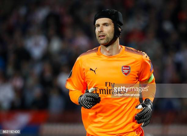 Goalkeeper Petr Cech of Arsenal looks on during the UEFA Europa League group H match between Crvena Zvezda and Arsenal FC at Rajko Mitic Stadium on...