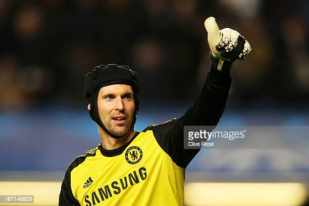 Goalkeeper Petr Cech of Chelsea celebrates his team's 3-0 victory during the UEFA Champions League Group E match between Chelsea and FC Schalke 04 at...