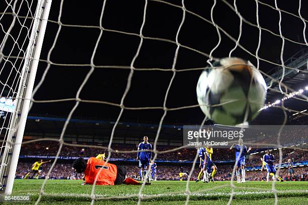 Goalkeeper Petr Cech of Chelsea fails to save the shot from Andres Iniesta of Barcelona after he scores in the final minutes during the UEFA...