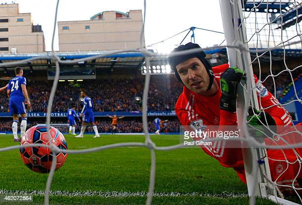 Goalkeeper Petr Cech of Chelsea looks on after being beaten by the shot from Jonathan Stead of Bradford City during the FA Cup Fourth Round match...