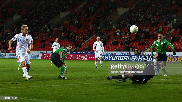 Goalkeeper Petr Cech of Czech Republic saves a shoot by Nial McGinn of Northern Ireland during the FIFA 2010 World Cup Group 3 Qualifier match...