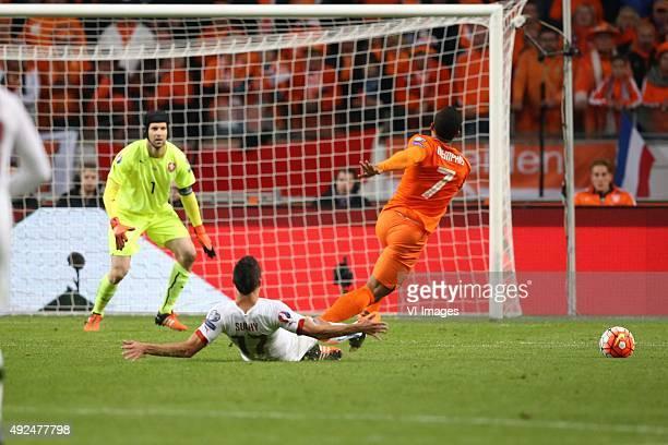 goalkeeper Petr Cech of Czech Republik Marek Suchy of Czech Republik Memphis Depay of Holland during the EURO 2016 qualifying match between...
