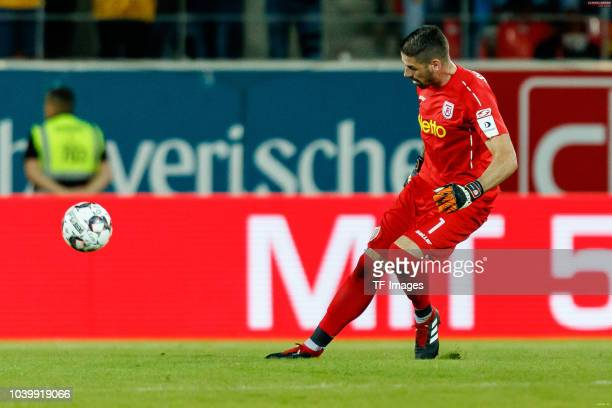 Goalkeeper Philipp Pentke of Jahn Regensburg controls the ball during the Second Bundesliga match between SSV Jahn Regensburg and SG Dynamo Dresden...