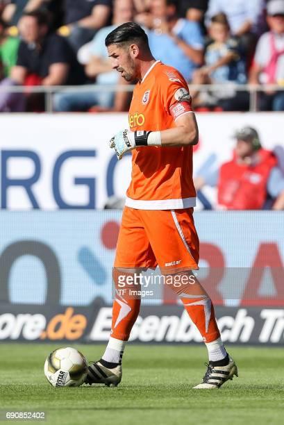 Goalkeeper Philipp Pentke of Jahn Regensburg controls the ball during the Second Bundesliga Playoff first leg match between Jahn Regensburg and TSV...