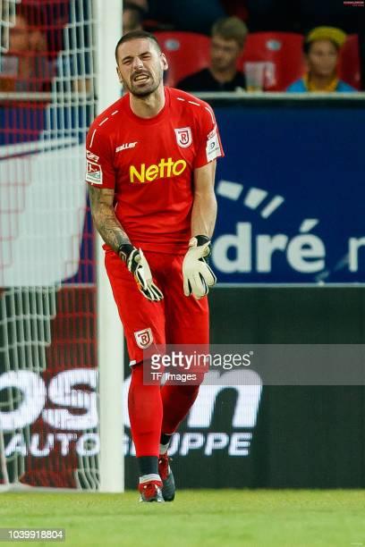 Goalkeeper Philipp Pentke of Jahn Regensburg gestures during the Second Bundesliga match between SSV Jahn Regensburg and SG Dynamo Dresden on...
