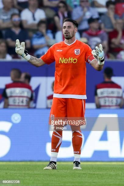 Goalkeeper Philipp Pentke of Jahn Regensburg gestures during the Second Bundesliga Playoff first leg match between Jahn Regensburg and TSV 1860...