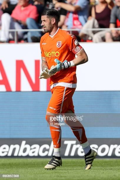 Goalkeeper Philipp Pentke of Jahn Regensburg looks on during the Second Bundesliga Playoff first leg match between Jahn Regensburg and TSV 1860...