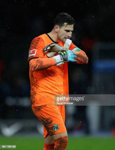 Goalkeeper Philipp Tschauner of Hannover 96 looks dejected after losing the Bundesliga match between Hertha BSC and Hannover 96 at Olympiastadion on...