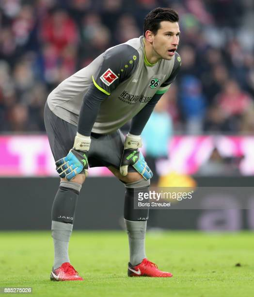 Goalkeeper Philipp Tschauner of Hannover 96 looks on during the Bundesliga match between FC Bayern Muenchen and Hannover 96 at Allianz Arena on...
