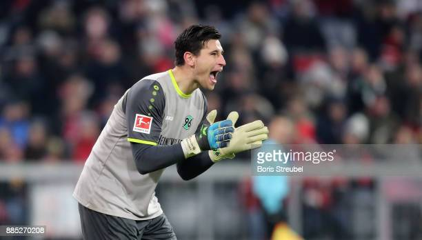 Goalkeeper Philipp Tschauner of Hannover 96 reacts during the Bundesliga match between FC Bayern Muenchen and Hannover 96 at Allianz Arena on...